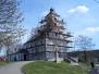 Stavění lešení - kostel Slopné